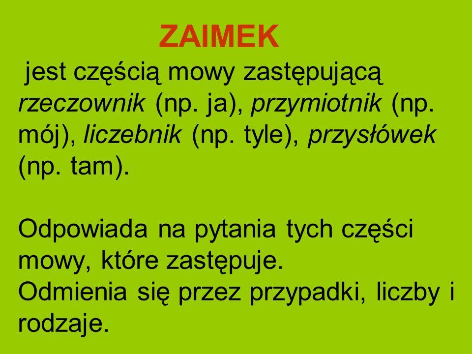 ZAIMEK jest częścią mowy zastępującą rzeczownik (np