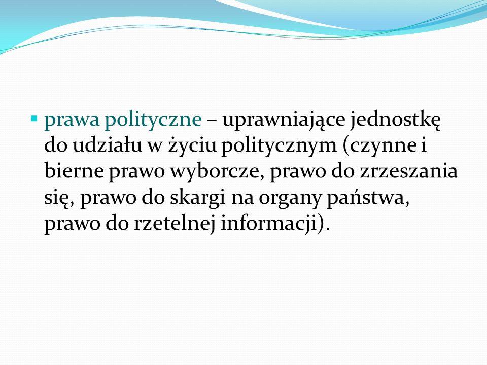 prawa polityczne – uprawniające jednostkę do udziału w życiu politycznym (czynne i bierne prawo wyborcze, prawo do zrzeszania się, prawo do skargi na organy państwa, prawo do rzetelnej informacji).