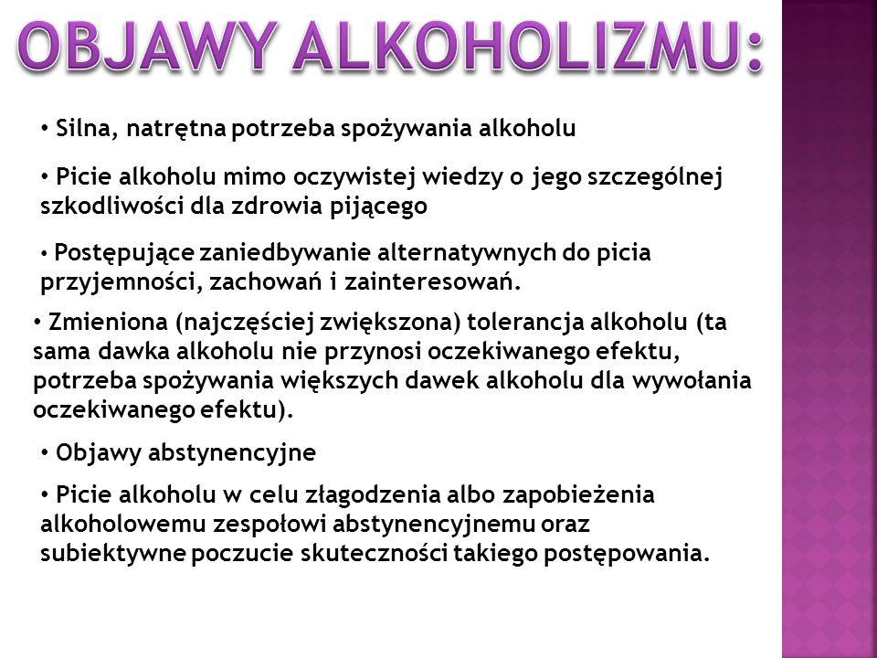 OBJAWY ALKOHOLIZMU: Silna, natrętna potrzeba spożywania alkoholu