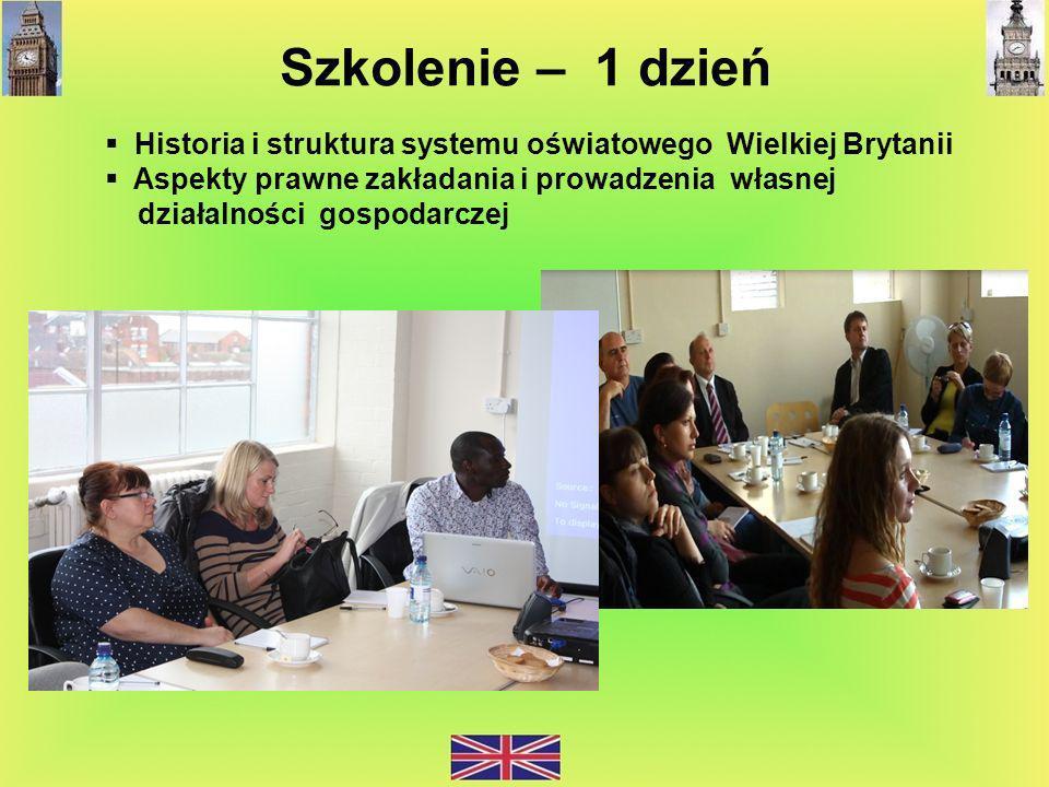 Szkolenie – 1 dzień Historia i struktura systemu oświatowego Wielkiej Brytanii. Aspekty prawne zakładania i prowadzenia własnej.