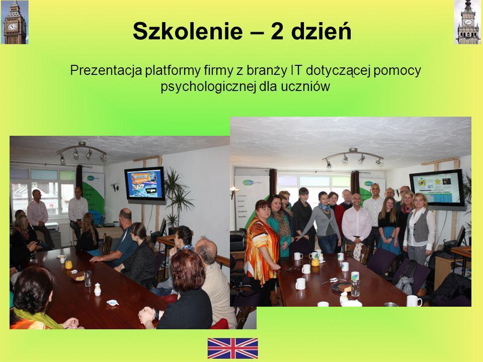 Szkolenie – 2 dzień Prezentacja platformy firmy z branży IT dotyczącej pomocy psychologicznej dla uczniów.