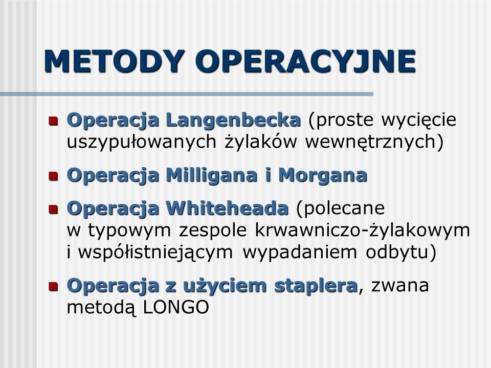 METODY OPERACYJNE Operacja Langenbecka (proste wycięcie uszypułowanych żylaków wewnętrznych) Operacja Milligana i Morgana.