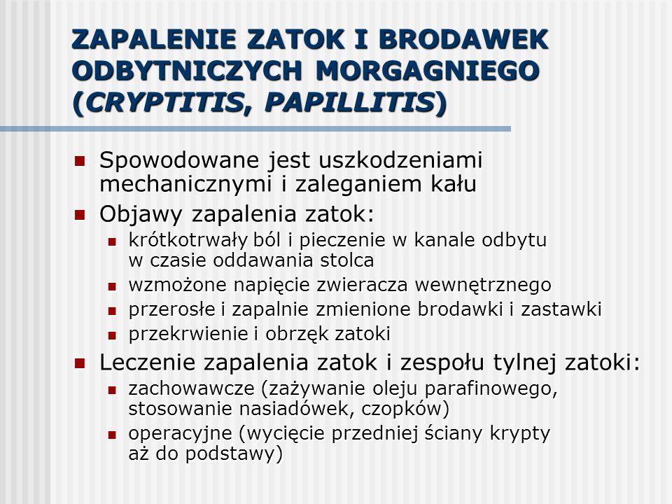 ZAPALENIE ZATOK I BRODAWEK ODBYTNICZYCH MORGAGNIEGO (CRYPTITIS, PAPILLITIS)