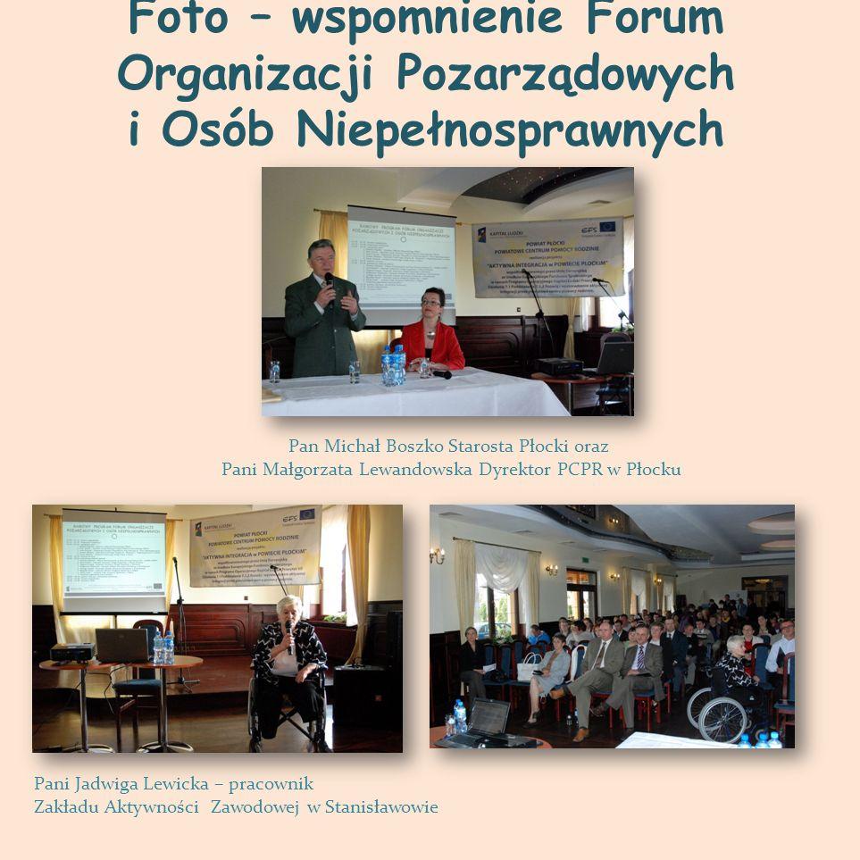 Foto – wspomnienie Forum Organizacji Pozarządowych i Osób Niepełnosprawnych