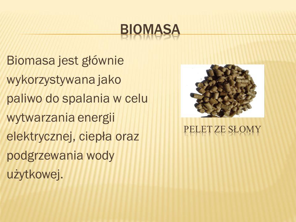 Biomasa Biomasa jest głównie wykorzystywana jako