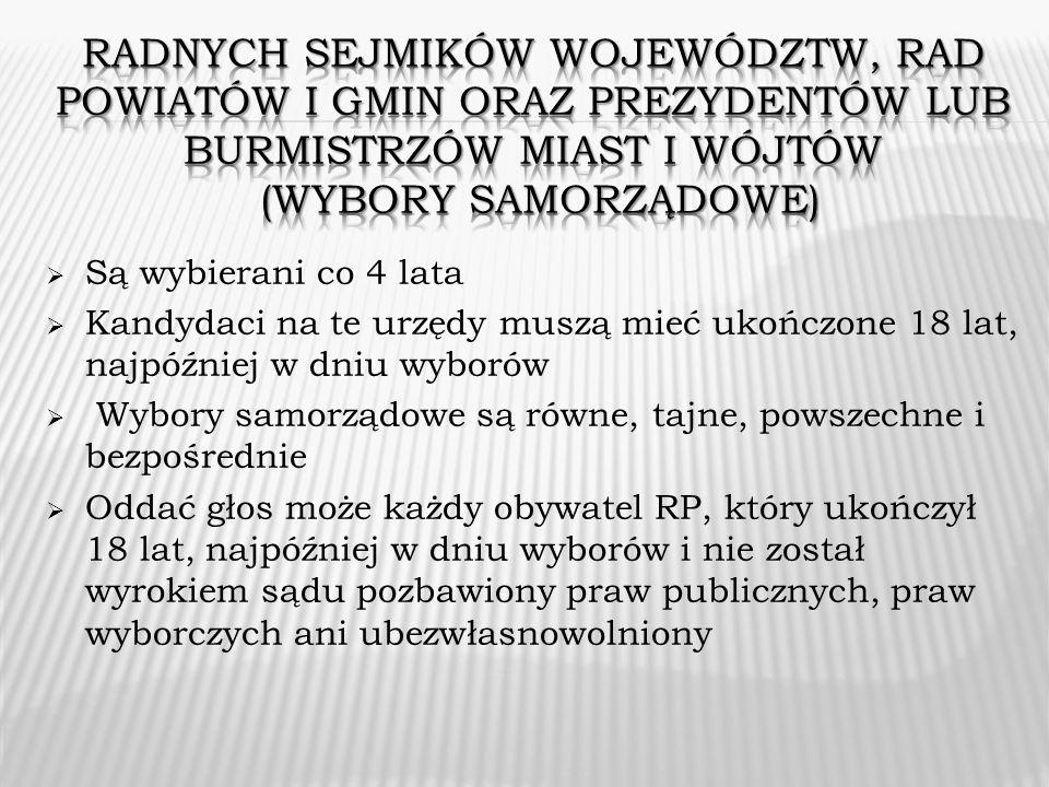 Radnych sejmików województw, rad powiatów i gmin oraz prezydentów lub burmistrzów miast i wójtów (Wybory samorządowe)