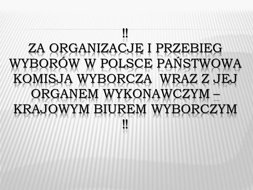 ‼ Za organizację I PRZEBIEG WYBORÓW W Polsce Państwowa KOMISJA WYBORCZA WRAZ Z JEJ ORGANEM WYKONAWCZYM – KRAJOWYM BIUREM WYBORCZYM ‼