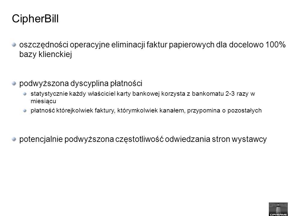 CipherBill oszczędności operacyjne eliminacji faktur papierowych dla docelowo 100% bazy klienckiej.