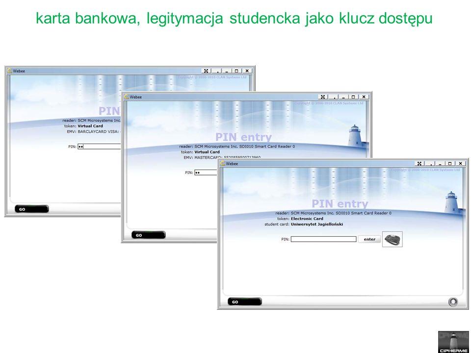 karta bankowa, legitymacja studencka jako klucz dostępu