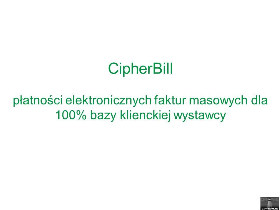 CipherBill płatności elektronicznych faktur masowych dla 100% bazy klienckiej wystawcy