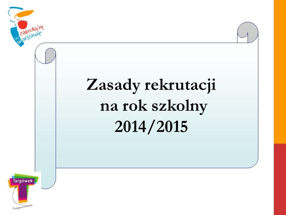 Zasady rekrutacji na rok szkolny 2014/2015