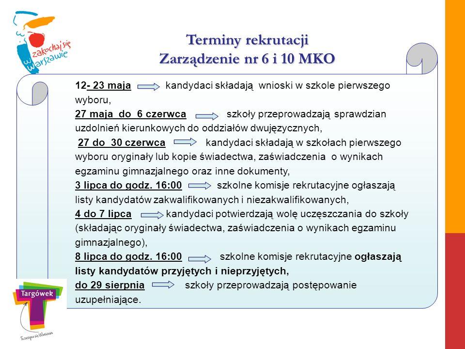 Terminy rekrutacji Zarządzenie nr 6 i 10 MKO