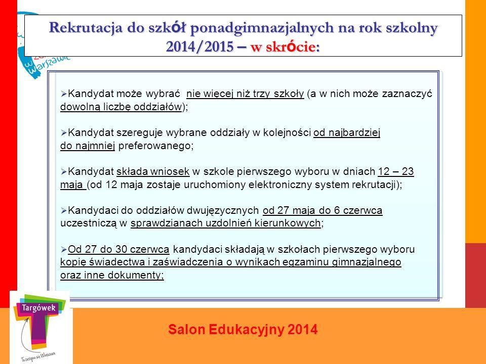 Rekrutacja do szkół ponadgimnazjalnych na rok szkolny 2014/2015 – w skrócie: