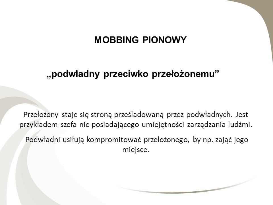 """RODZAJE MOBBINGU MOBBING PIONOWY """"podwładny przeciwko przełożonemu"""