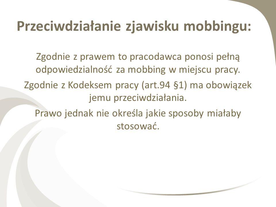 Przeciwdziałanie zjawisku mobbingu: