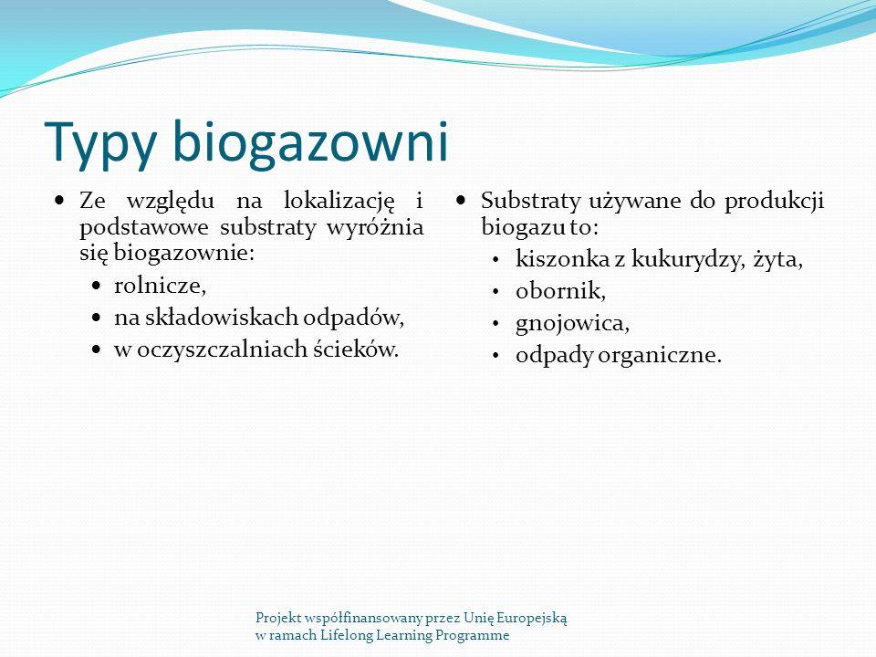 Typy biogazowni Ze względu na lokalizację i podstawowe substraty wyróżnia się biogazownie: rolnicze,