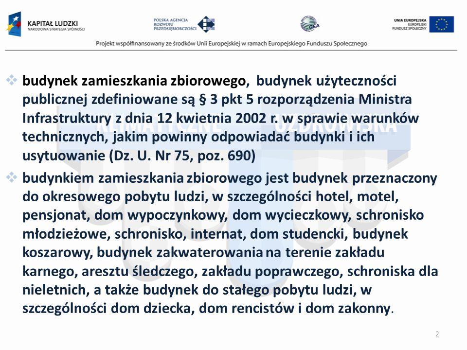 budynek zamieszkania zbiorowego, budynek użyteczności publicznej zdefiniowane są § 3 pkt 5 rozporządzenia Ministra Infrastruktury z dnia 12 kwietnia 2002 r. w sprawie warunków technicznych, jakim powinny odpowiadać budynki i ich usytuowanie (Dz. U. Nr 75, poz. 690)