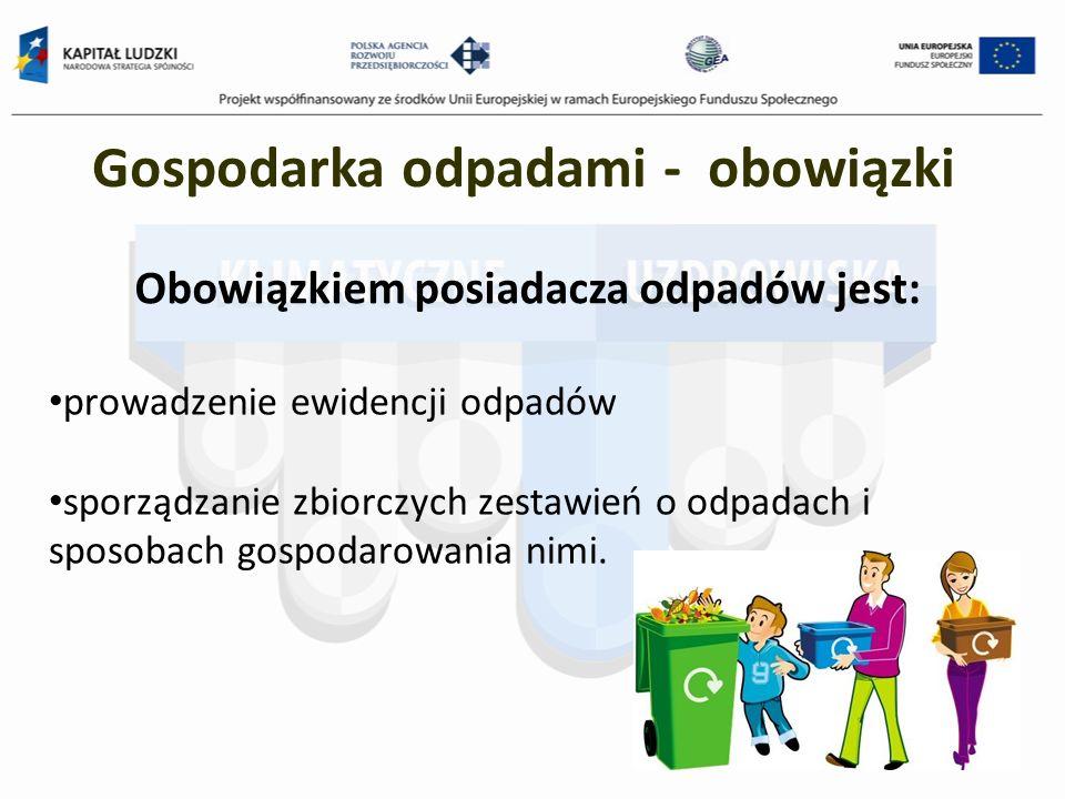 Obowiązkiem posiadacza odpadów jest: