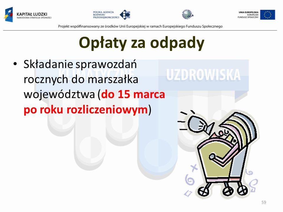 Opłaty za odpady Składanie sprawozdań rocznych do marszałka województwa (do 15 marca po roku rozliczeniowym)