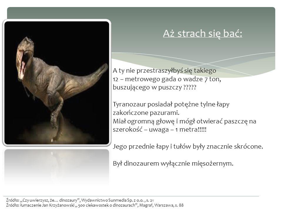 Aż strach się bać: A ty nie przestraszyłbyś się takiego 12 – metrowego gada o wadze 7 ton, buszującego w puszczy Tyranozaur posiadał potężne tylne łapy zakończone pazurami. Miał ogromną głowę i mógł otwierać paszczę na szerokość – uwaga – 1 metra!!!!! Jego przednie łapy i tułów były znacznie skrócone. Był dinozaurem wyłącznie mięsożernym.