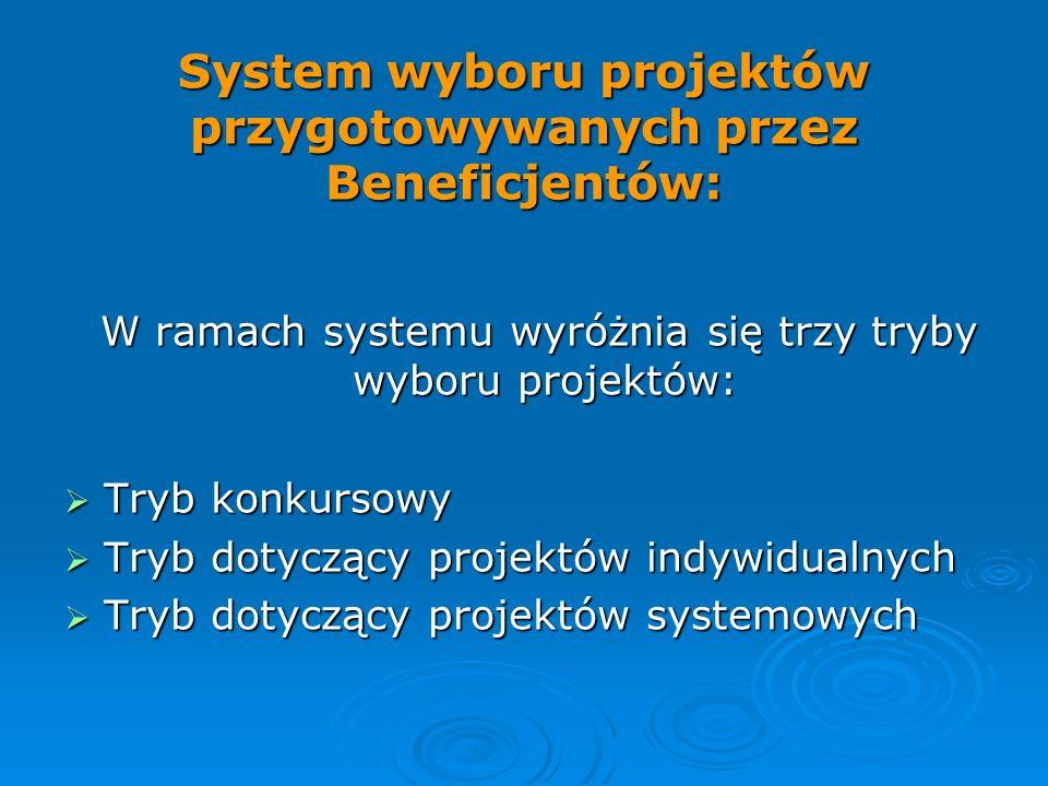 System wyboru projektów przygotowywanych przez Beneficjentów: