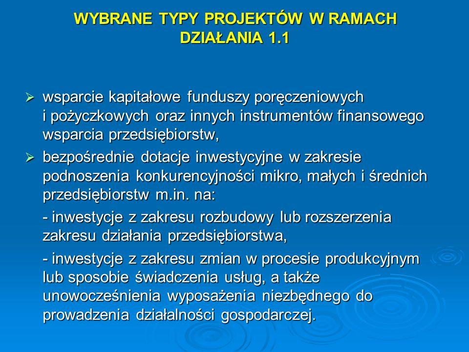 WYBRANE TYPY PROJEKTÓW W RAMACH DZIAŁANIA 1.1