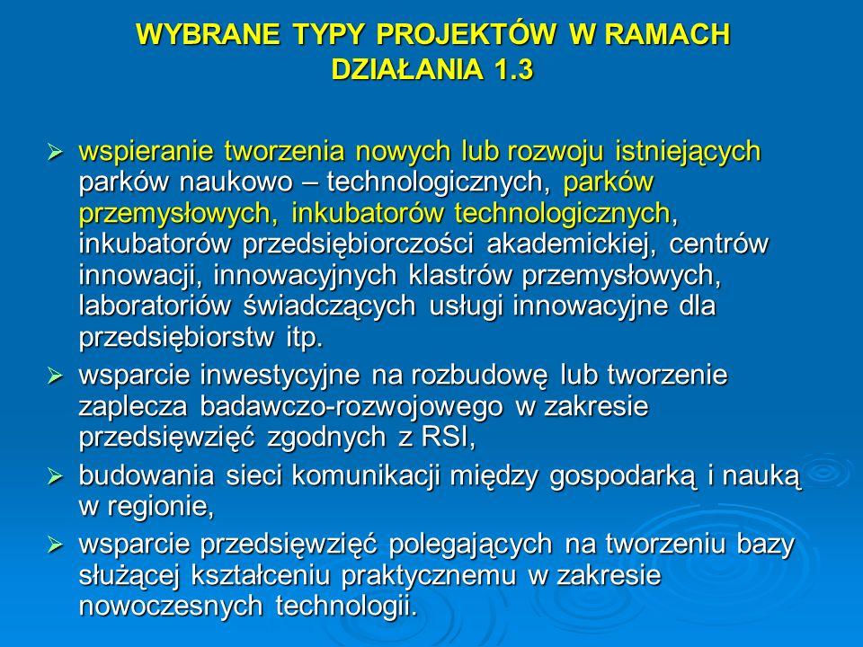 WYBRANE TYPY PROJEKTÓW W RAMACH DZIAŁANIA 1.3