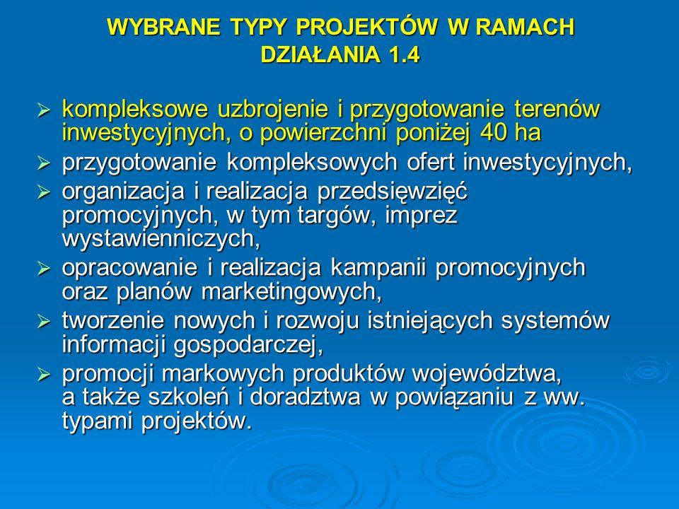 WYBRANE TYPY PROJEKTÓW W RAMACH DZIAŁANIA 1.4