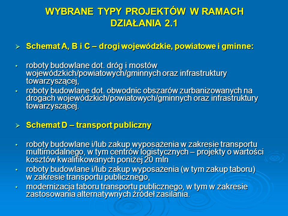 WYBRANE TYPY PROJEKTÓW W RAMACH DZIAŁANIA 2.1