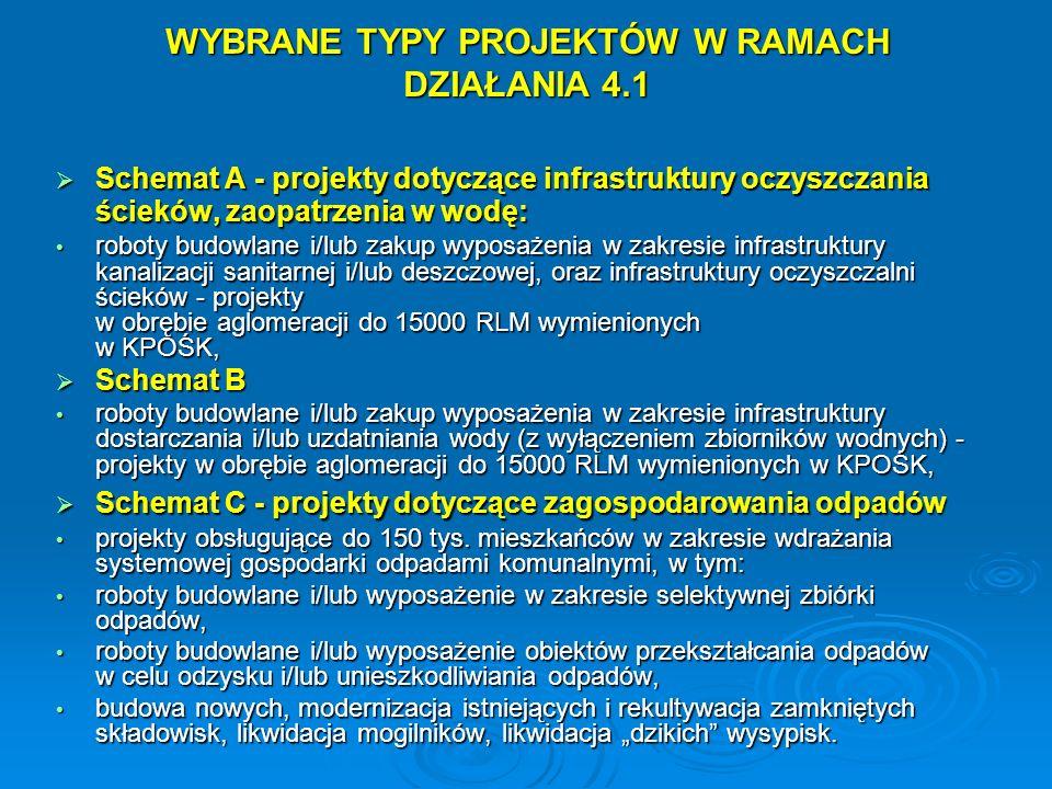 WYBRANE TYPY PROJEKTÓW W RAMACH DZIAŁANIA 4.1
