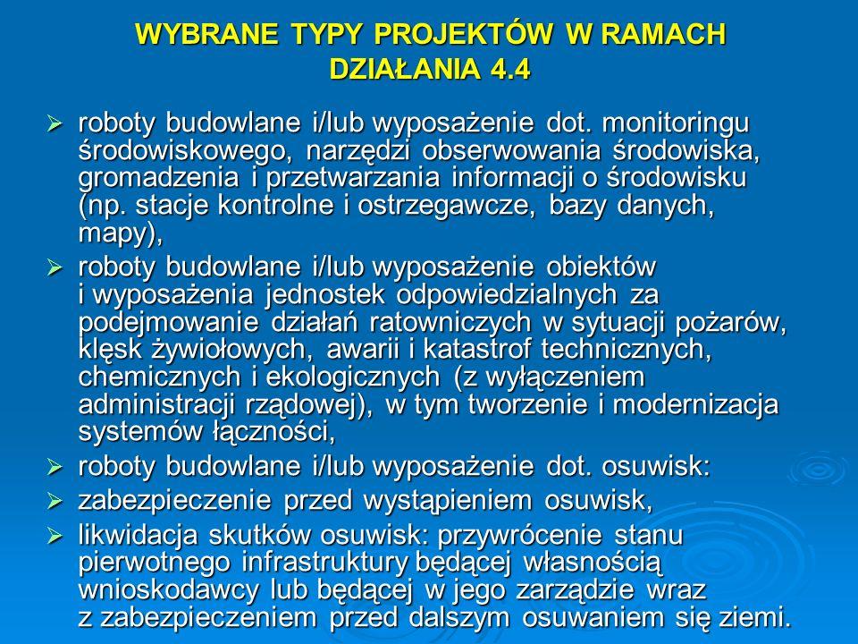 WYBRANE TYPY PROJEKTÓW W RAMACH DZIAŁANIA 4.4