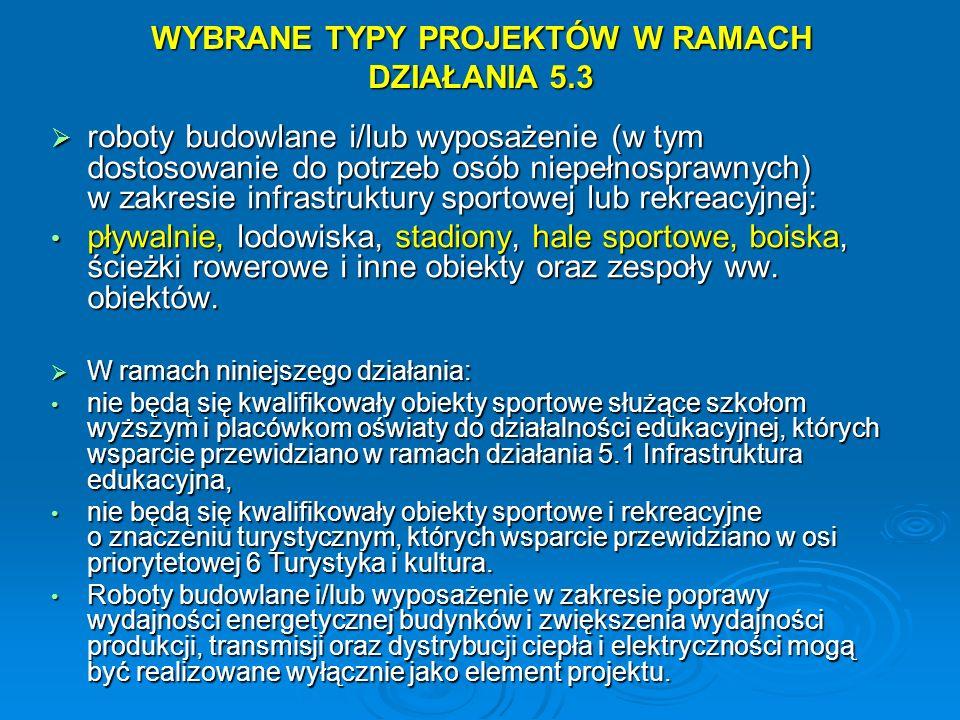 WYBRANE TYPY PROJEKTÓW W RAMACH DZIAŁANIA 5.3