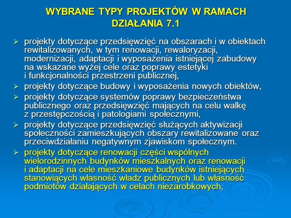 WYBRANE TYPY PROJEKTÓW W RAMACH DZIAŁANIA 7.1