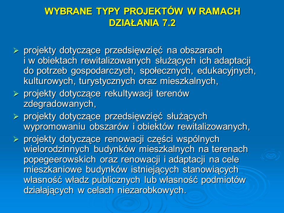 WYBRANE TYPY PROJEKTÓW W RAMACH DZIAŁANIA 7.2