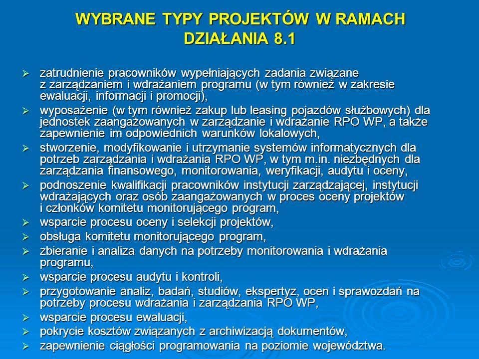WYBRANE TYPY PROJEKTÓW W RAMACH DZIAŁANIA 8.1