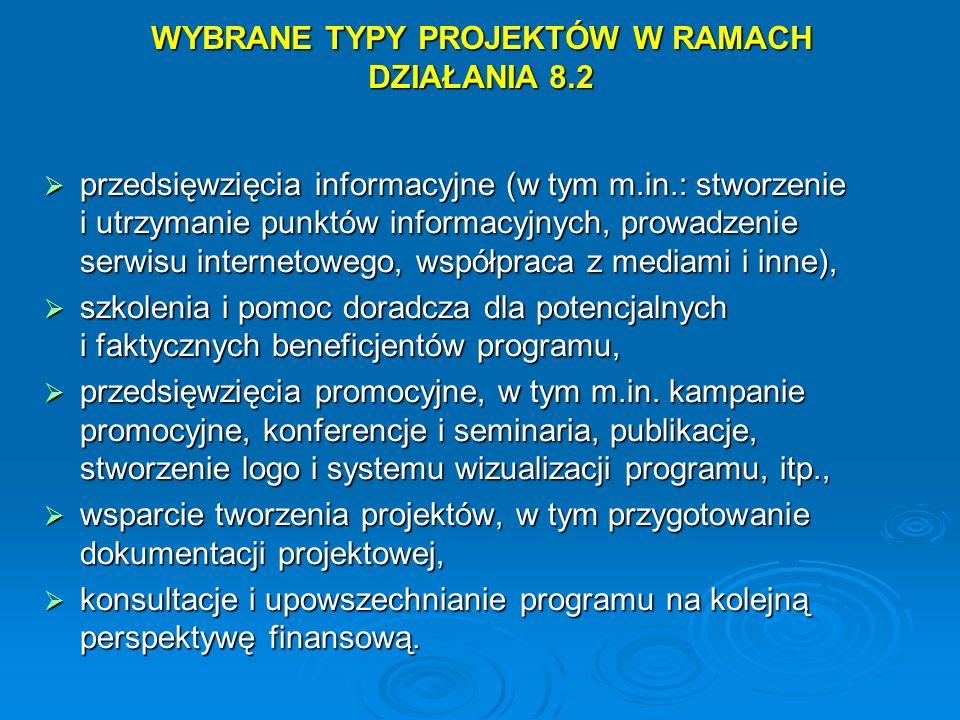 WYBRANE TYPY PROJEKTÓW W RAMACH DZIAŁANIA 8.2
