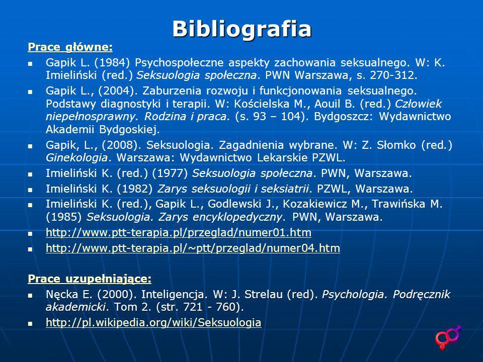 Bibliografia Prace główne: