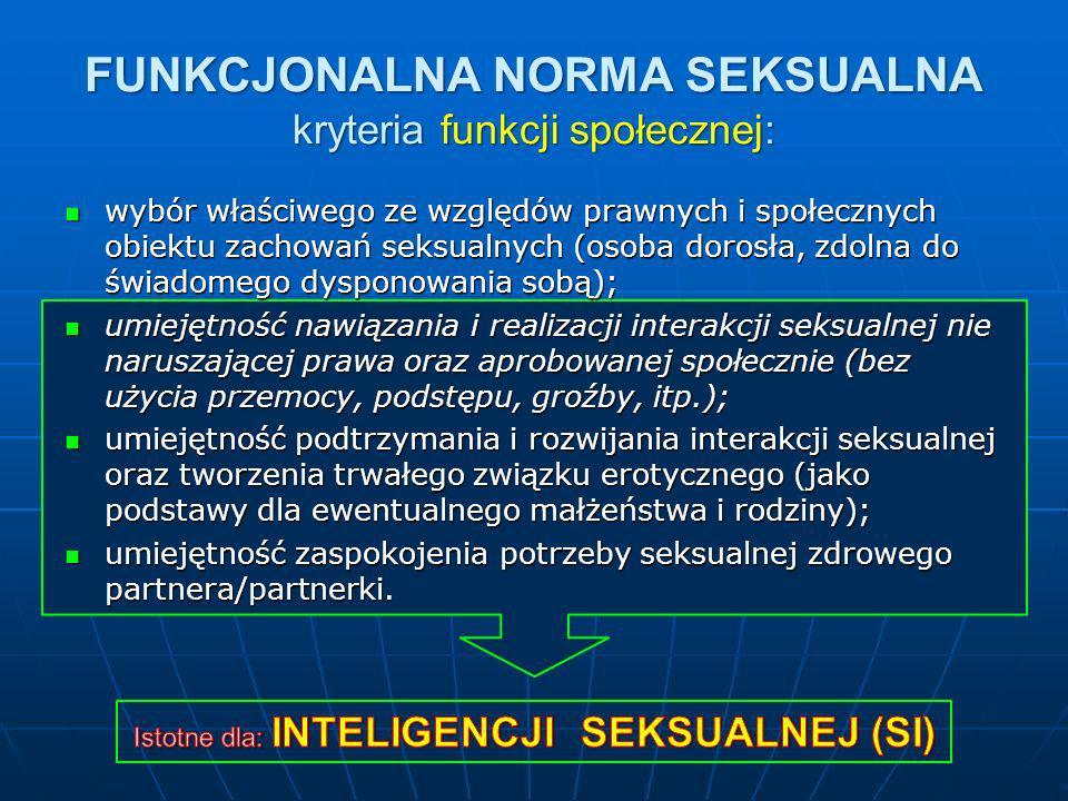 FUNKCJONALNA NORMA SEKSUALNA kryteria funkcji społecznej: