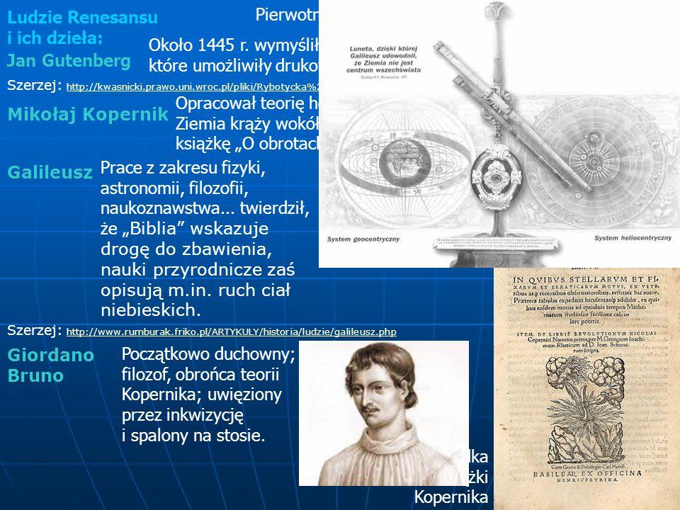 Ludzie Renesansu i ich dzieła: Pierwotna prasa drukarska