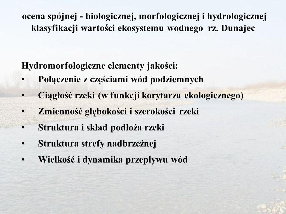 ocena spójnej - biologicznej, morfologicznej i hydrologicznej klasyfikacji wartości ekosystemu wodnego rz. Dunajec