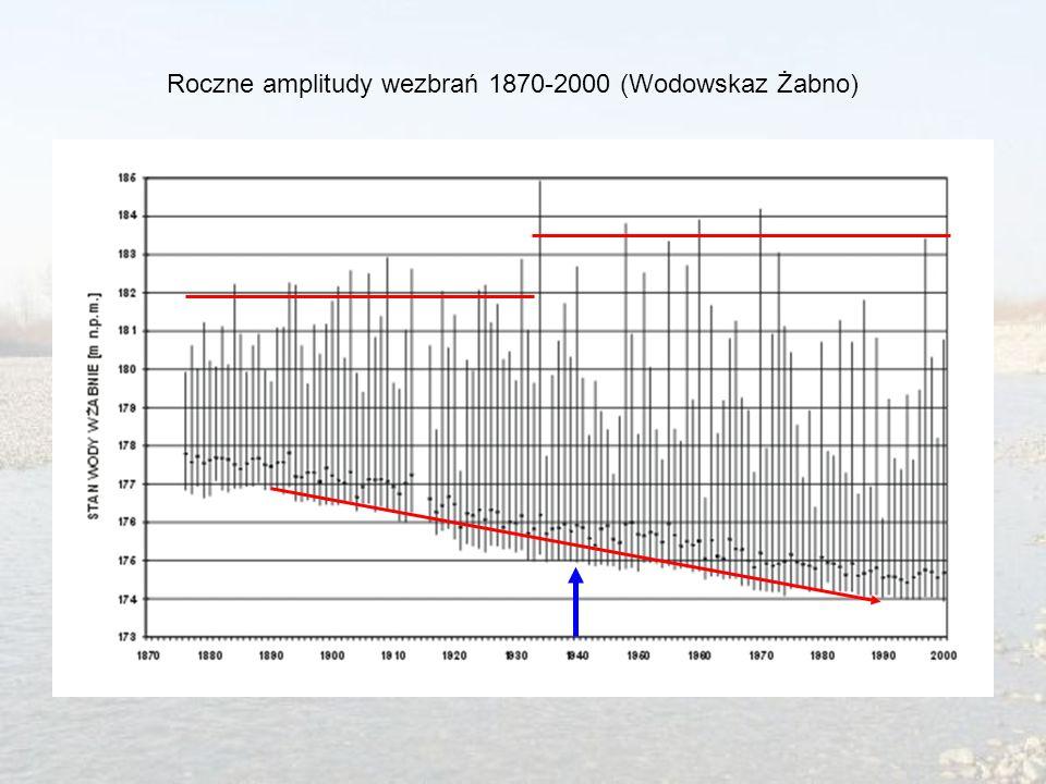 Roczne amplitudy wezbrań 1870-2000 (Wodowskaz Żabno)
