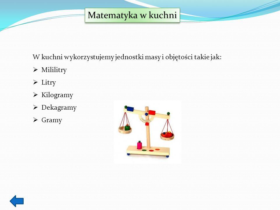 Matematyka w kuchni W kuchni wykorzystujemy jednostki masy i objętości takie jak: Mililitry. Litry.