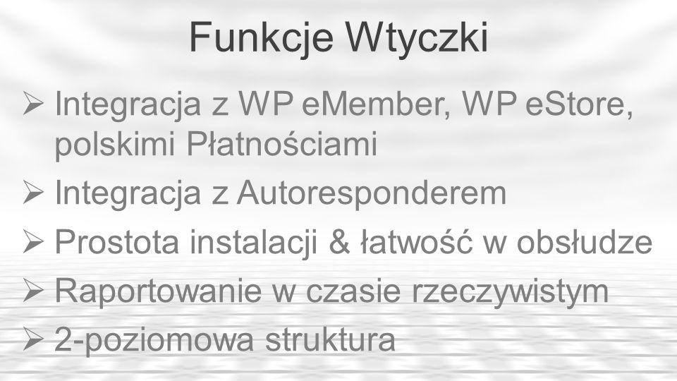 Funkcje Wtyczki Integracja z WP eMember, WP eStore, polskimi Płatnościami. Integracja z Autoresponderem.
