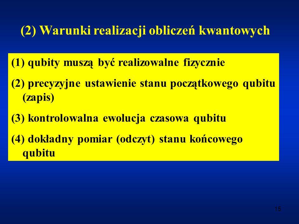 (2) Warunki realizacji obliczeń kwantowych