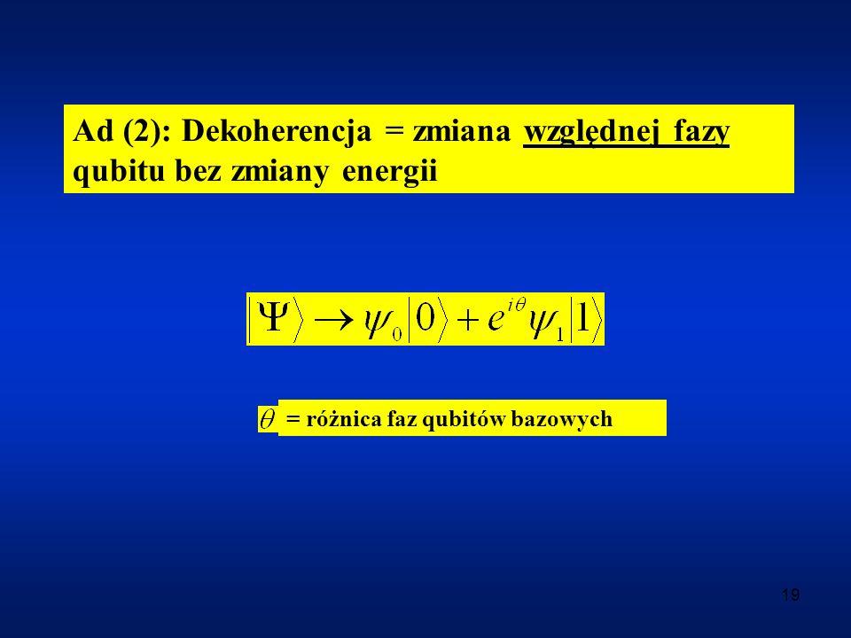 Ad (2): Dekoherencja = zmiana względnej fazy qubitu bez zmiany energii