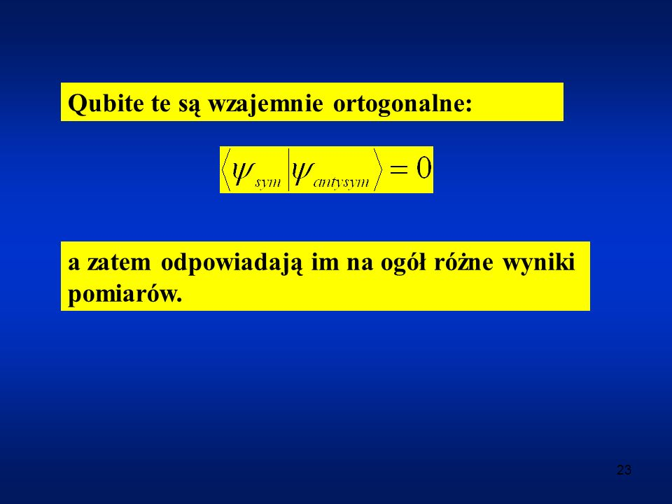 Qubite te są wzajemnie ortogonalne: