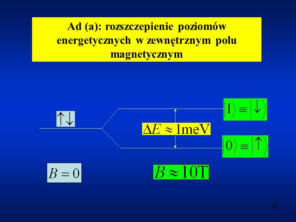 Ad (a): rozszczepienie poziomów energetycznych w zewnętrznym polu magnetycznym