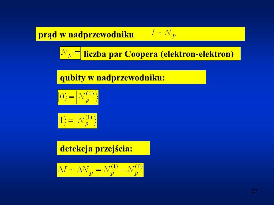 prąd w nadprzewodniku liczba par Coopera (elektron-elektron) qubity w nadprzewodniku: detekcja przejścia: