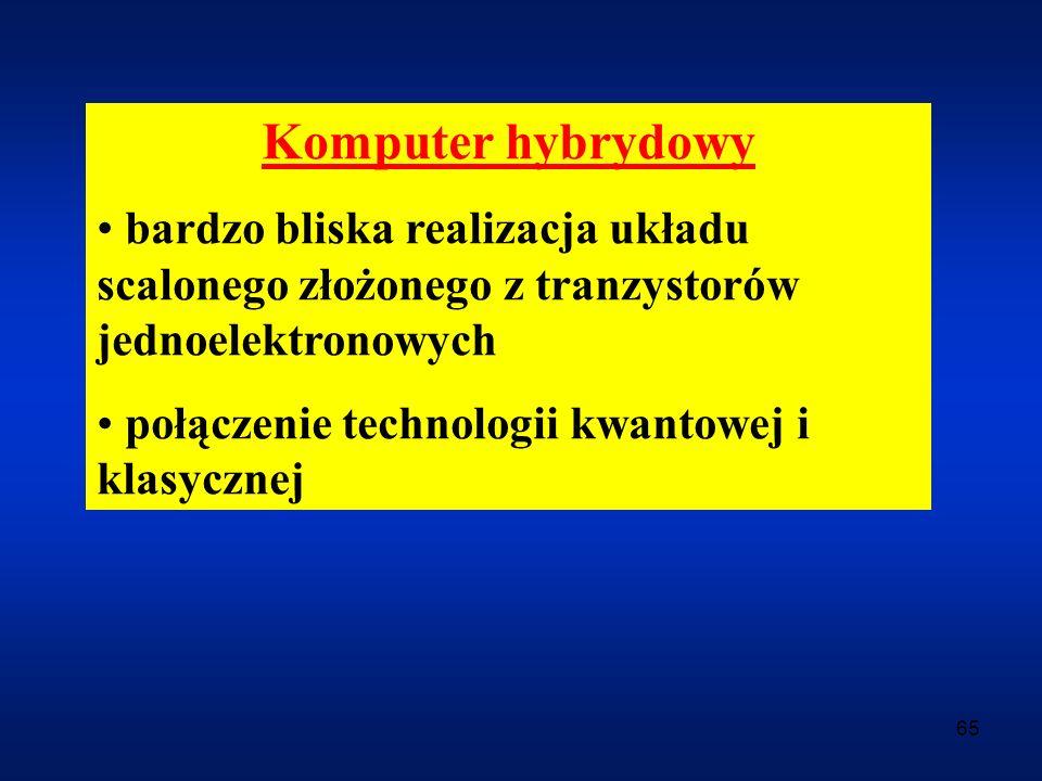 Komputer hybrydowy bardzo bliska realizacja układu scalonego złożonego z tranzystorów jednoelektronowych.