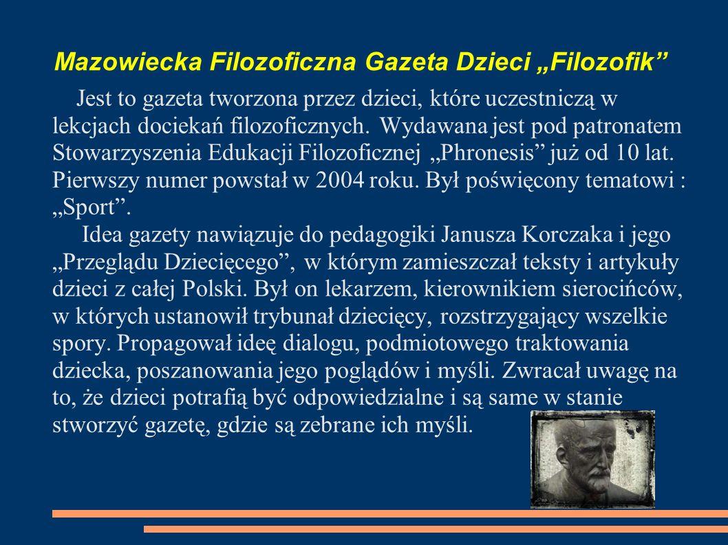 """Mazowiecka Filozoficzna Gazeta Dzieci """"Filozofik"""